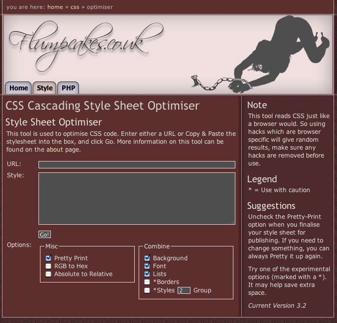 Online CSS formatting tools - chipwreck