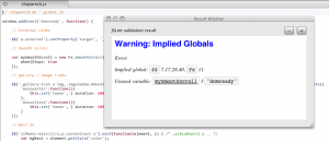 Validation result window (JSLint)