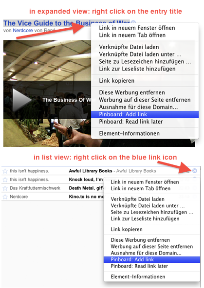 Saving bookmarks in Google Reader